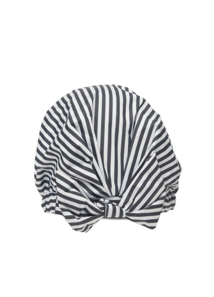 Kitsch Luxe Shower Cap - Black and White Stripe