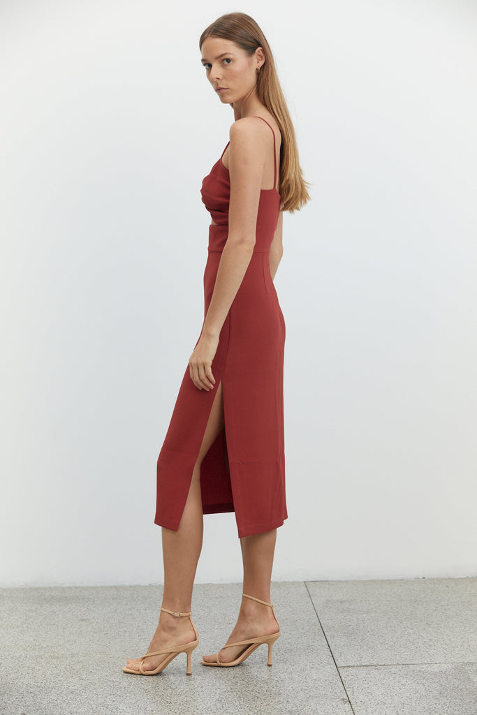 Third Form Twist Top Midi Dress - Crimson