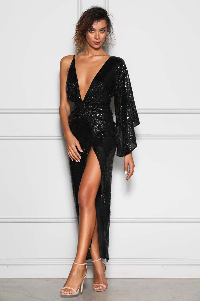 Elle Zeitoune TINLEY BLACK SEQUIN Dress