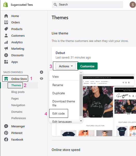 screen shot of steps to follow to get to edit code in shopify