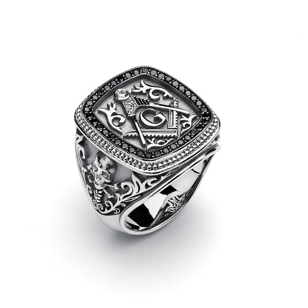 Masonic Gothic Ring with Black Diamonds