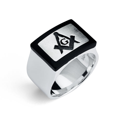 Master Mason Ring, Modern Rectangular Design