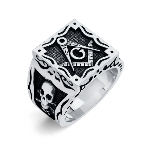 Master Mason Ring, Gothic Square Design (Large)