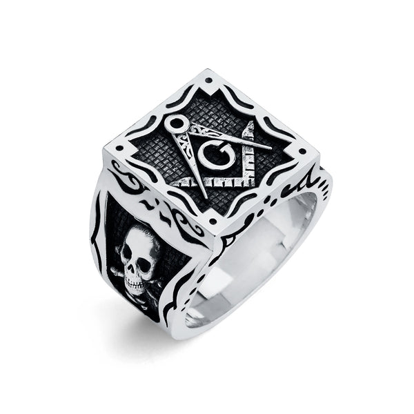 Master Mason Ring, Gothic Square Design