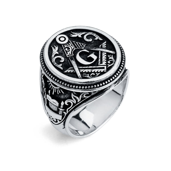 Master Mason Ring, Gothic Oval Design  (Large)