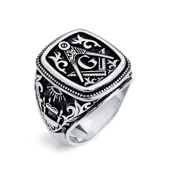 Master Mason Ring, Gothic Cushion Design (Large)