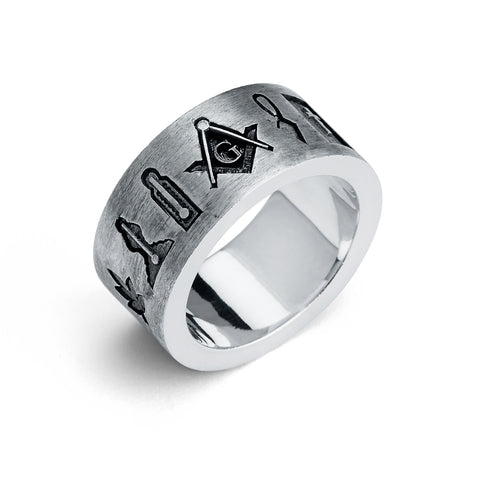 Master Mason Ring, Masonic Symbols Eternity Band