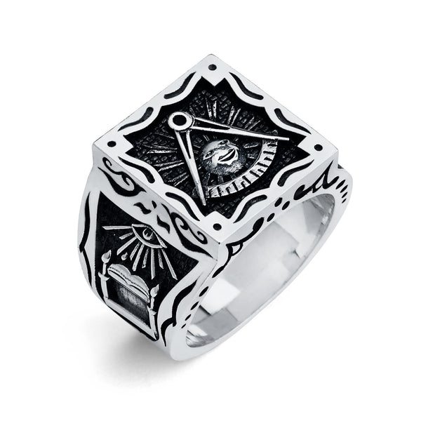 Past Master Ring, Gothic Square Ring (Large)