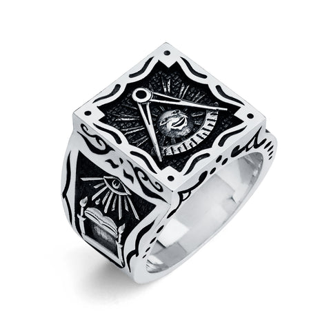 Past Master Ring, Gothic Square Ring