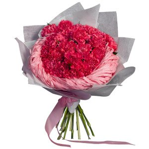 •	Bunch of 30 Pink carnations 