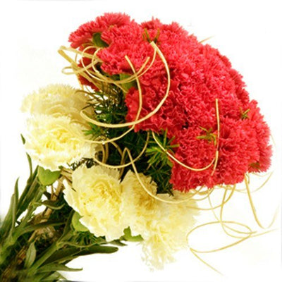 30 Red and Yellow Carnations Designer Bouquet