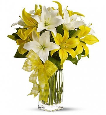 8 Stem of White and Yellow Lilies bouquet. (VASE: you can add from the add on products)