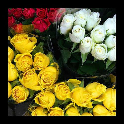 Arrangement of 100 roses are divided in four equal parts.