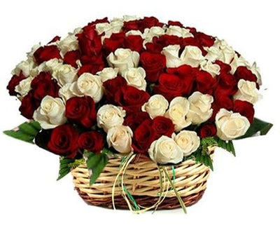 100 Stem Pure White & Red Roses