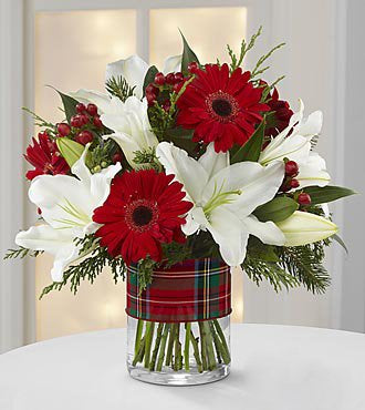 Exotic White Lily & Red Daisies Bouquet (10-12 Flowers).