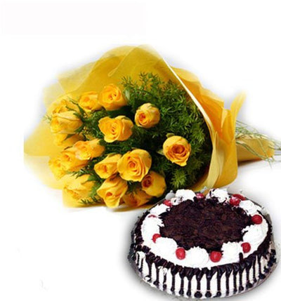 15 yellow roses bouquet
