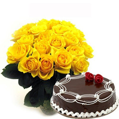 20 yellow roses hand bunch