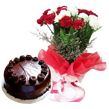 20 Red & White Carnation