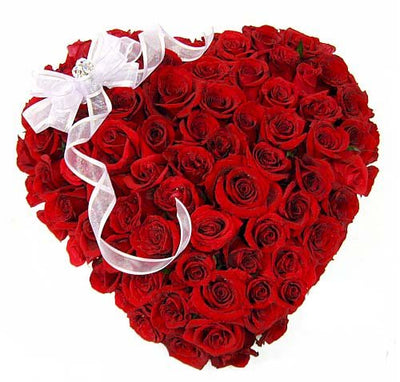75 Red Roses HEART shape arrangement