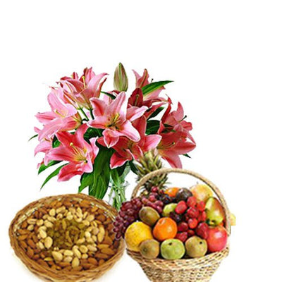 Exotic bunch of 5 Stem Lilies with a 500 gm assorted dry fruit pack and 3 Kg Fresh Fruits Basket.