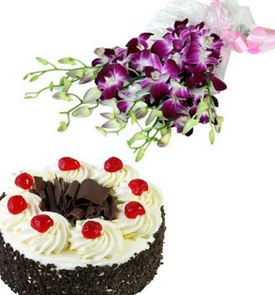 purple shade orchids. 500 gm Black forest cake.