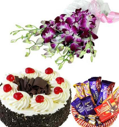Bouquet of 8 stem purple orchids