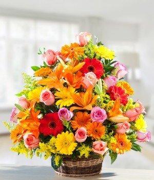 Premium Arrangement of Exotic 60+ Flowers like Lilies, Daisies & LS Roses.