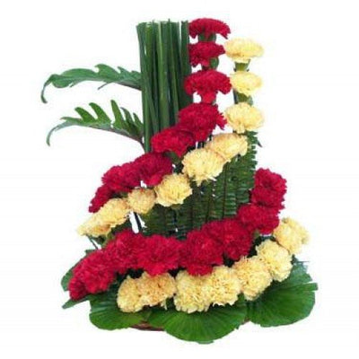 40 Red and Yellow Carnation Designer Basket