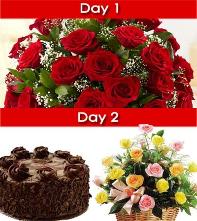 Day-1: LS 30 Red Roses bouquet wrapped nicely in cellophane wrap.