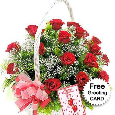 basket of 25 Red Roses arranged wonderfully with thriving white fillers in it