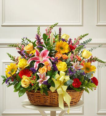 40+ Mixed Flowers Basket with lush foliage