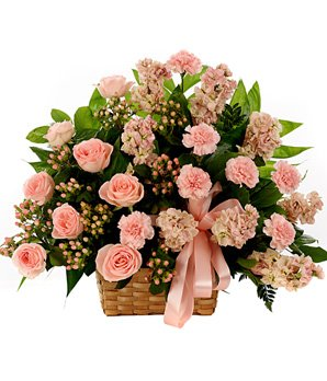 Wooden basket of  50+ Flowers (includes Pink Roses and Carnation).