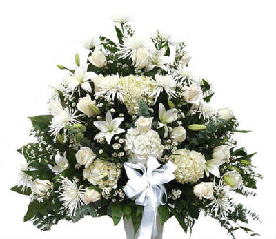 Basket of 40 + white flowers and seasonal fillers
