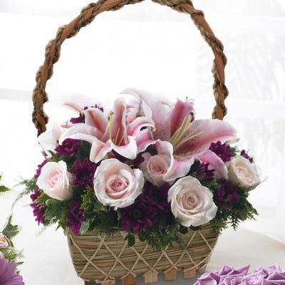 Basket of Pink Lilies and Pink Roses.