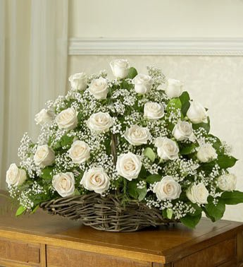 Basket of 60 White Roses blooms.
