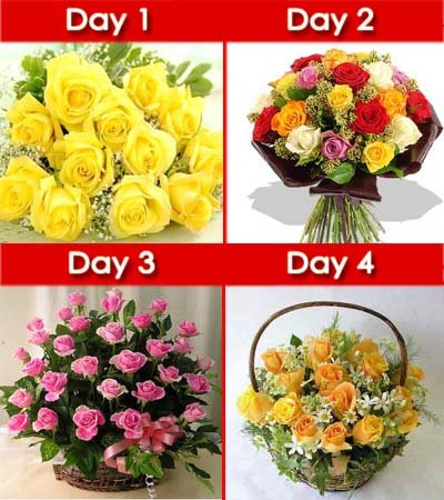 Day-1: 15 Yellow Roses hand bouquet wrapped in cellophane paper.