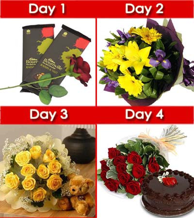 Day-1: Lets start the day with some sweet - Two bournville Chocolates (80 gm each) along with One stem Red Rose (Packed).