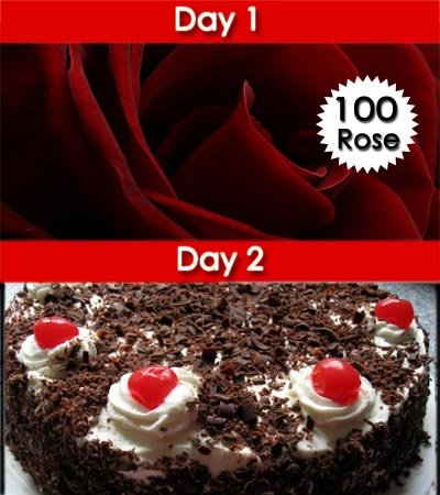 •	Day-1: Premium Bouquet of 100 Stalk pure Red Roses wrapped beautifully with cellophane paper and red bow on it. 