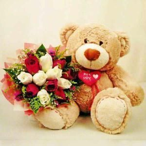 15 Red and White Roses bouquet.
