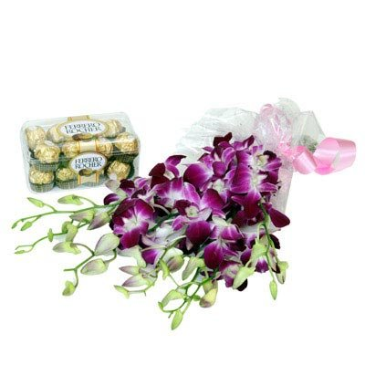 Bouquet of 10 Stem Purple orchids wrapped in cellophane paper 