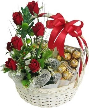 Wooden Handle Basket with 2 Box of Ferrero Rocher 16 pcs (200 gm each) 