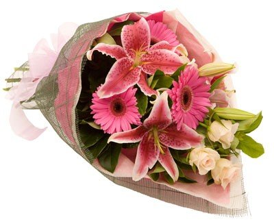 Mixed Flowers bouquet of Roses, Gerbera and Exotic Lilies 