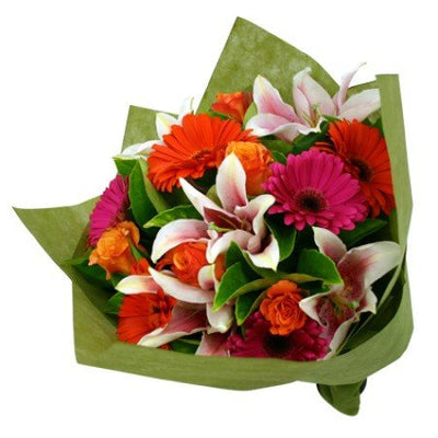 Bountiful Premium Bouquet of mixed exotic flowers, Incl Lilies, Gerbera and Roses