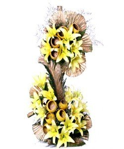 Double Tier Exotic Arrangement of premium 15-20 stem Yellow Lilies 