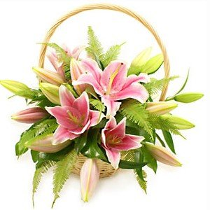 Exotic Pink Lilies wooden Basket arrangement.