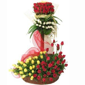 Standing gesture of premium 100 stem colorful roses arranged beautifully with the help of stand.