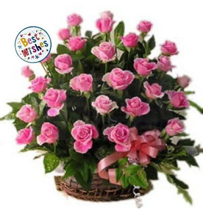 Basket of 30 Long stem pink roses and lush foliage