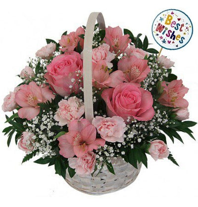 Wooden Basket of Pink Roses and Pretty Pink Carnations.