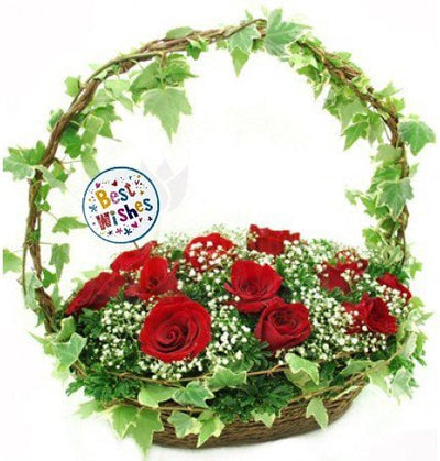 18 Red Roses Basket with lush green fillers..