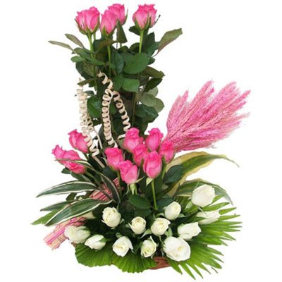 Basket arrangement of white & Pink Roses 